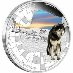 2010 Australian Antarctic Territory - Husky - 1oz .999 Silver Proof Coin - Perth Mint