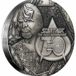 2017 Star Trek: The Next Generation Lieutenant Commander Worf 2oz .9999 Silver Antiqued Coin - Perth Mint