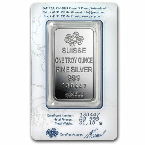 Lady Fortuna 1oz .999 Silver Minted Bar in Assay Card - PAMP Suisse