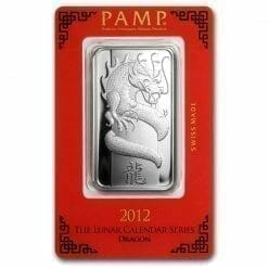 2012 Year of the Dragon 1oz .999 Silver Minted Bar - Lunar Calender Series - PAMP Suisse