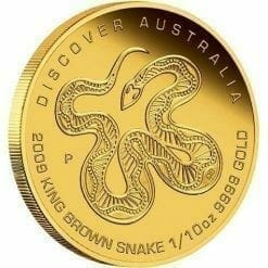 2009 Discover Australia - King Brown Snake 1/10oz .9999 Gold Proof Coin in Capsule - Perth Mint