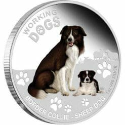 2011 Working Dogs - Border Collie Sheep Dog - 1oz .999 Silver Proof Coin - Perth Mint