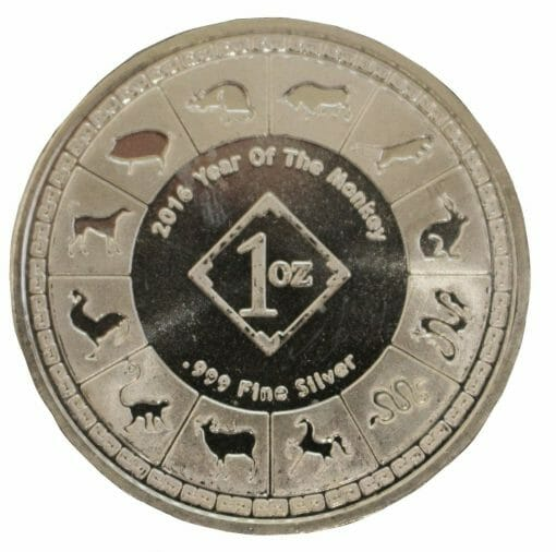 2016 Year of the Monkey 1oz .999 Silver Bullion Coin - 12 Lunar Animals Calender 2