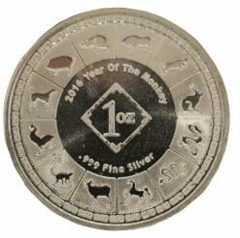 2016 Year of the Monkey 1oz .999 Silver Bullion Coin - 12 Lunar Animals Calender 3