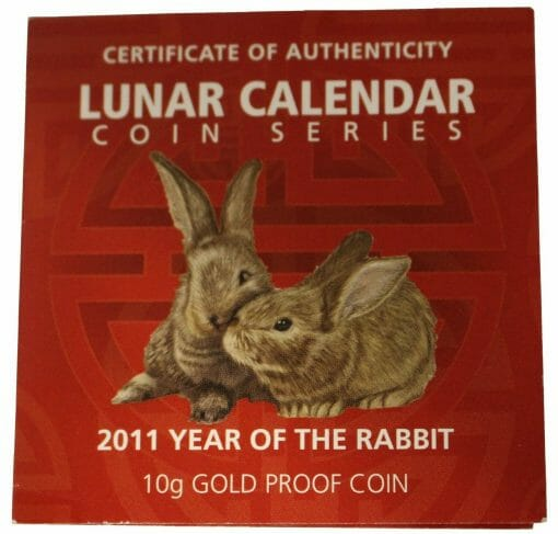 2011 Year of the Rabbit 10g .9999 Rectangular Gold Proof Coin - Lunar Calendar Coin Series - Perth Mint