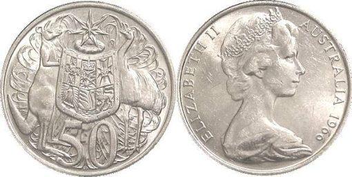 Australian 1966 50c Round Silver Coin - 80% Silver 2