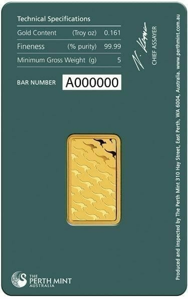 Perth Mint Kangaroo 5g .9999 Gold Minted Bullion Bar - Green Security Card 3