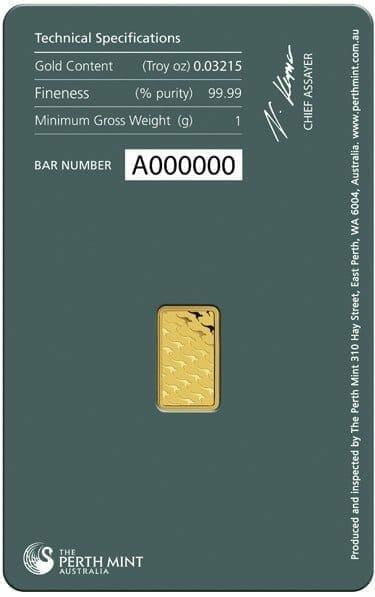 Perth Mint Kangaroo 1g .9999 Gold Minted Bullion Bar - Green Security Card 3