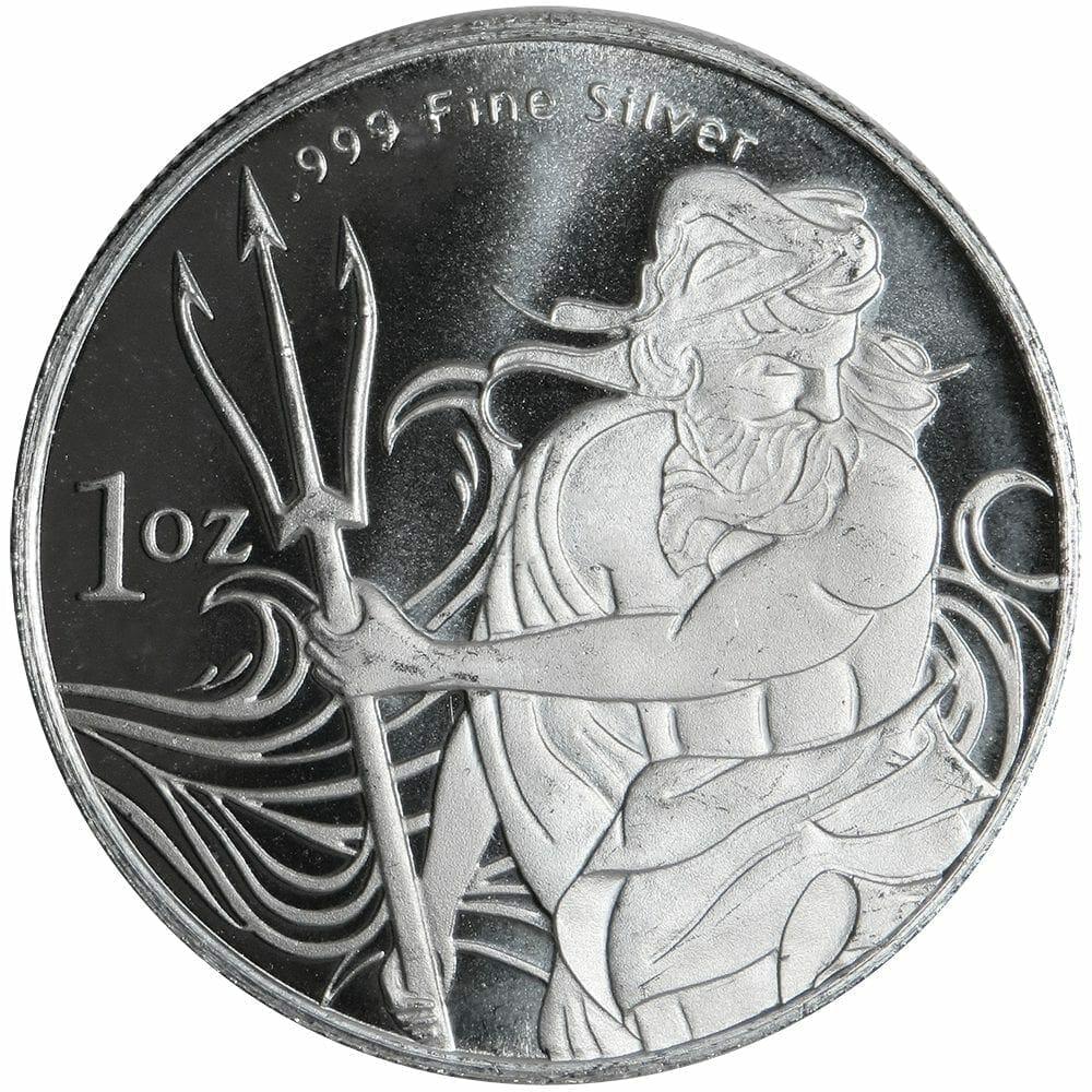 Neptune/Poseidon 1oz .999 Silver Bullion Coin - TridentSilver.com 1