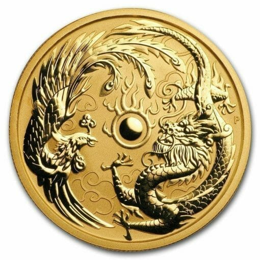 2018 Dragon and Phoenix 1oz .9999 Gold Bullion Coin - The Perth Mint 1