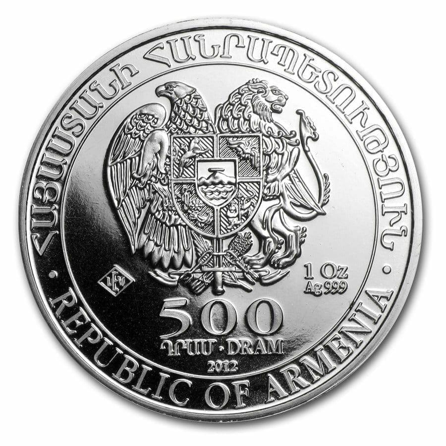2012 Noah's Ark 1oz .999 Silver Bullion Coin - 500 Dram - Republic of Armenia 3