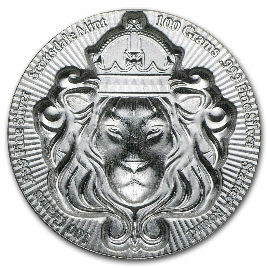 Scottsdale Silver 100 Grams .999 Silver Bullion Stacker Round Coin - 100g 2