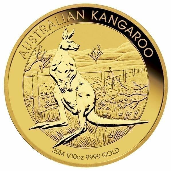 2014 Australian Kangaroo 1/10oz .9999 Gold Bullion Coin 1
