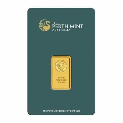Perth Mint Kangaroo 5g .9999 Gold Minted Bullion Bar - Green Security Card 1