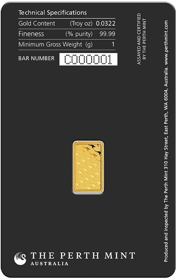 Perth Mint Kangaroo 1g .9999 Gold Minted Bullion Bar 2