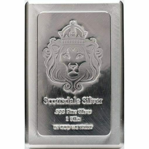 Scottsdale Silver 1kg .999 Silver Cast Bullion Stacker Bar 1