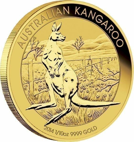 2014 Australian Kangaroo 1/10oz .9999 Gold Bullion Coin 2