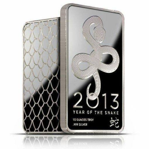 2013 Year of the Snake Lunar 10oz .999 Silver Minted Bullion Bar - NTR Metals 2