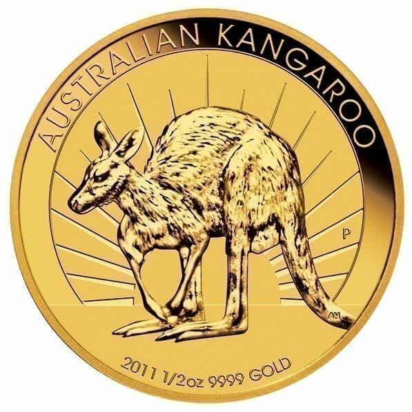 2011 Australian Kangaroo 1/2oz .9999 Gold Bullion Coin 1