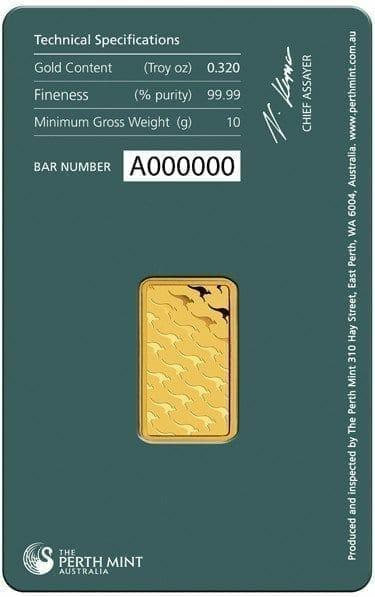 Perth Mint Kangaroo 10g .9999 Gold Minted Bullion Bar - Green Security Card 3