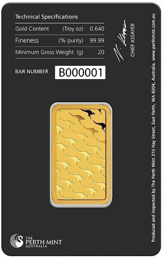 Perth Mint Kangaroo 20g .9999 Gold Minted Bullion Bar 3