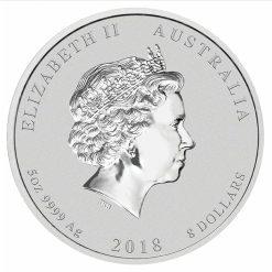 2018 Year Of The Dog 5oz .9999 Silver Bullion Coin - Lunar Series II - The Perth Mint 3