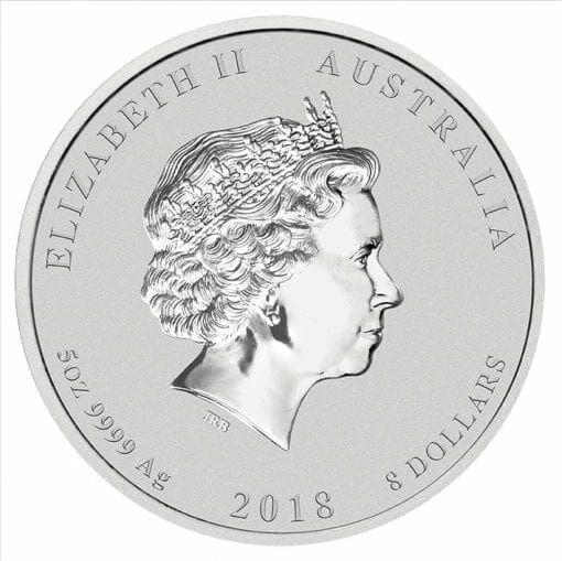 2018 Year Of The Dog 5oz .9999 Silver Bullion Coin - Lunar Series II - The Perth Mint 2
