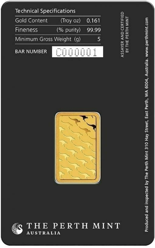Perth Mint Kangaroo 5g .9999 Gold Minted Bullion Bar 2