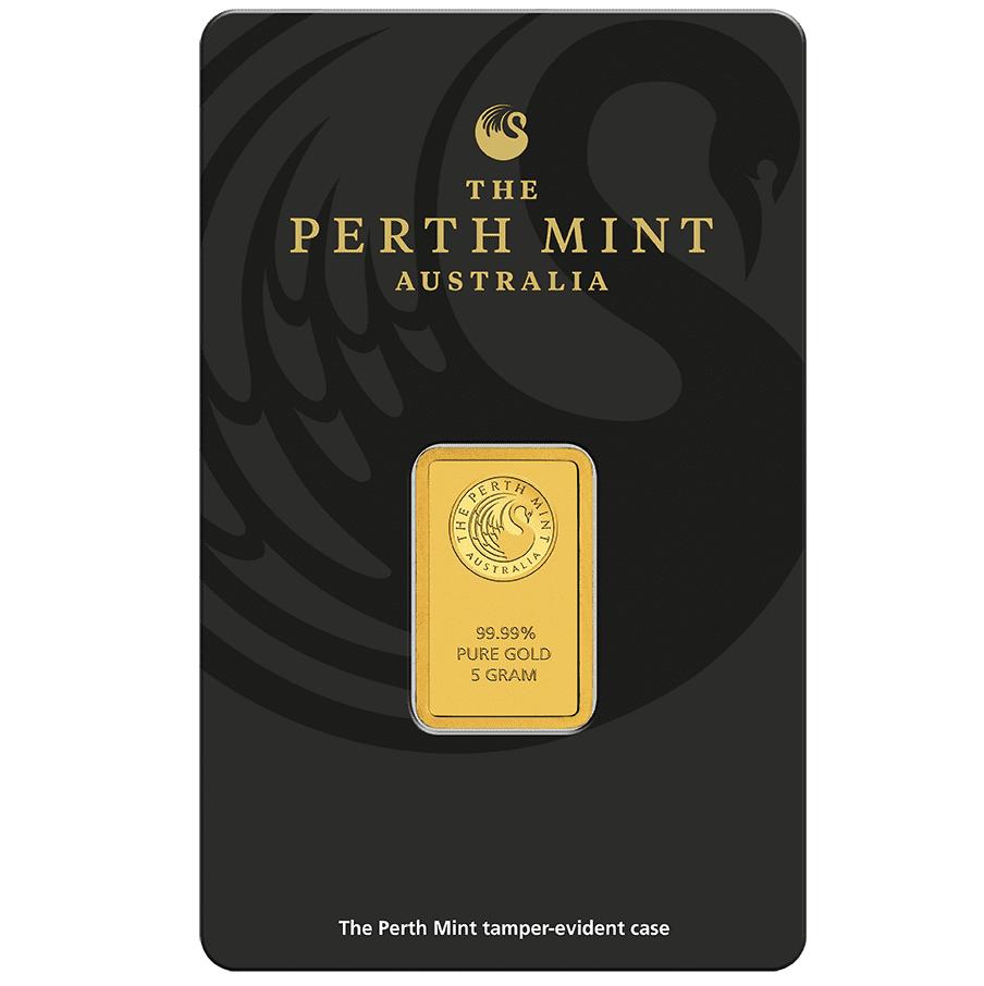 Perth Mint Kangaroo 5g .9999 Gold Minted Bullion Bar 1