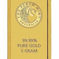 Perth Mint Kangaroo 5g .9999 Gold Minted Bullion Bar 6