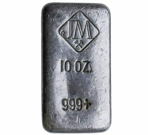 Johnson Matthey 10oz .999 Silver Hand Poured Bullion Bar - Johnson Matthey 1