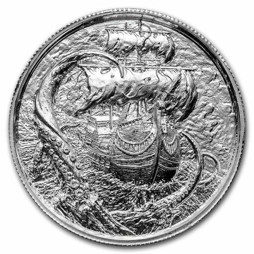 Privateer Series - The Kraken 2oz .999 Ultra High Relief Silver Bullion Coin - Elemetal Mint 1