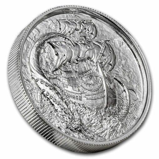 Privateer Series - The Kraken 2oz .999 Ultra High Relief Silver Bullion Coin - Elemetal Mint 2