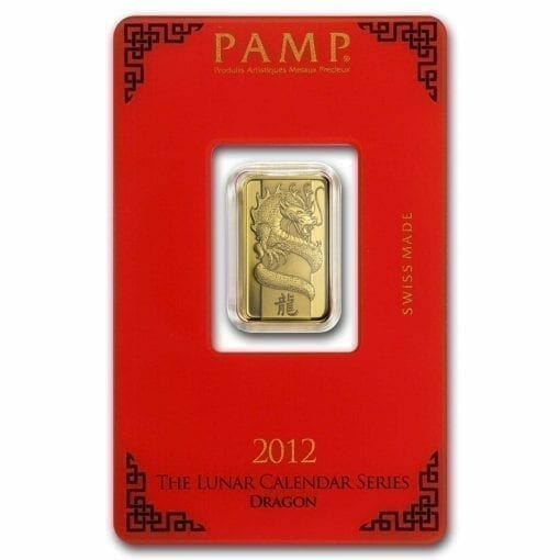2012 Lunar Year of the Dragon 5g .9999 Gold Minted Bullion Bar - PAMP Suisse 2