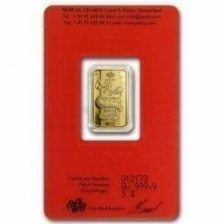 2012 Lunar Year of the Dragon 5g .9999 Gold Minted Bullion Bar - PAMP Suisse 5
