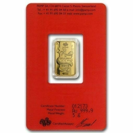2012 Lunar Year of the Dragon 5g .9999 Gold Minted Bullion Bar - PAMP Suisse 3