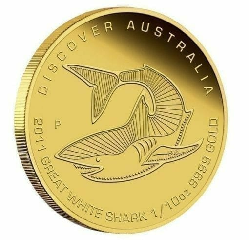 2011 Discover Australia Dreaming Series - Great White Shark 1/10oz .9999 Gold Proof Coin - The Perth Mint 1