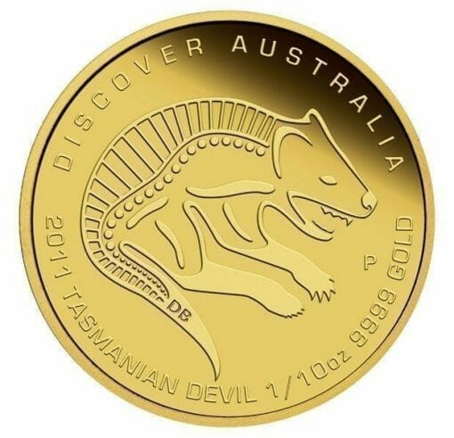 2011 Discover Australia Dreaming Series - Tasmanian Devil 1/10oz .9999 Gold Proof Coin - The Perth Mint 2