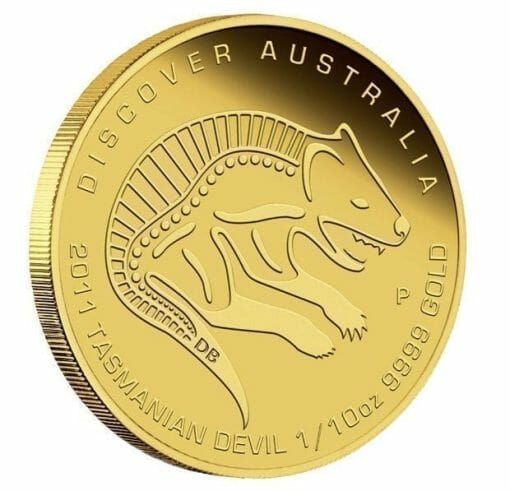 2011 Discover Australia Dreaming Series - Tasmanian Devil 1/10oz .9999 Gold Proof Coin - The Perth Mint 1