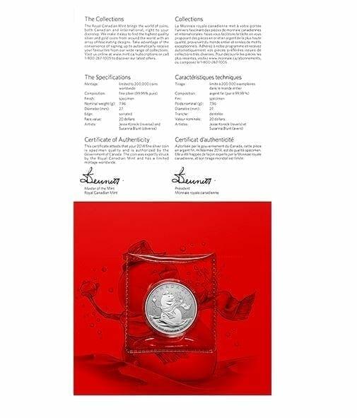 2014 $20 Snowman 1/4oz .9999 Silver Coin - Royal Canadian Mint 4