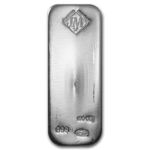Johnson Matthey 100oz .999 Silver Cast Bar - SLC / Salt Lake City Refinery 1