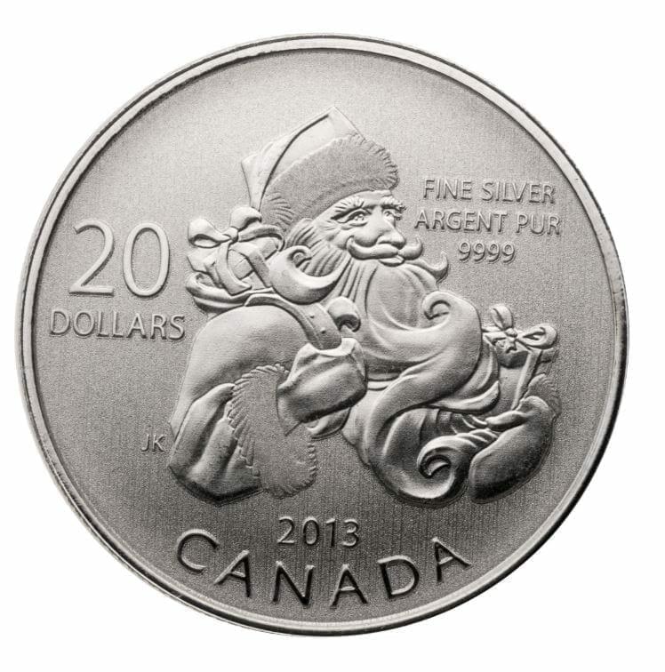 2013 $20 Santa 1/4oz .9999 Silver Coin - Royal Canadian Mint 1