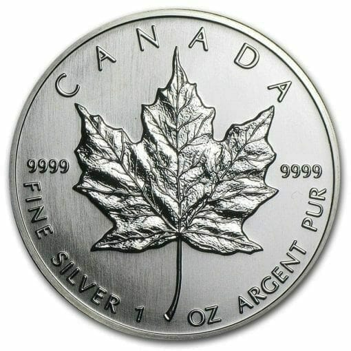 1990 Maple Leaf 1oz .9999 Silver Bullion Coin - Royal Canadian Mint 1