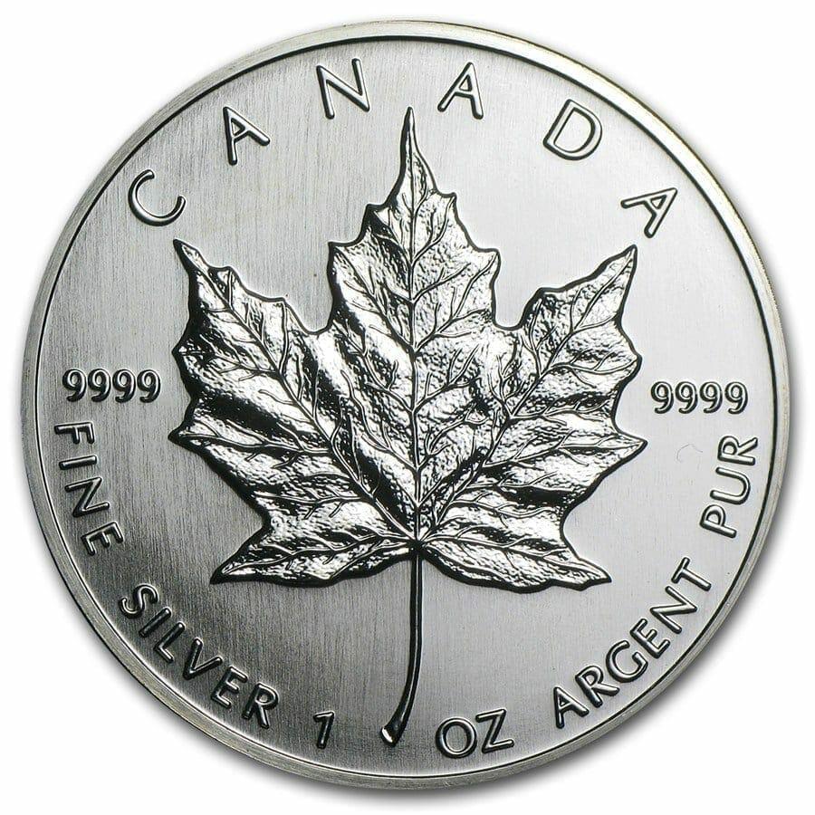 1990 Maple Leaf 1oz .9999 Silver Bullion Coin - Royal Canadian Mint 1