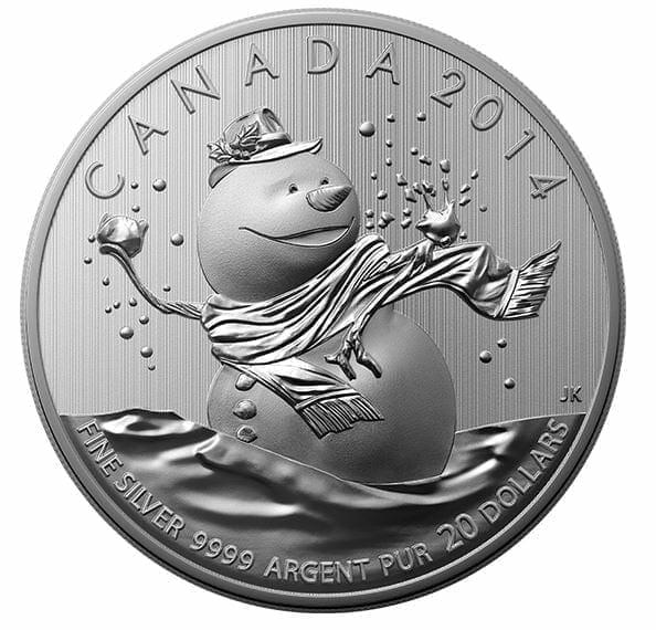 2014 $20 Snowman 1/4oz .9999 Silver Coin - Royal Canadian Mint 1