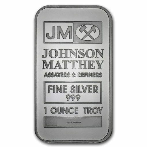Johnson Matthey 1oz .999 Silver Minted Bullion Bar - JM 1