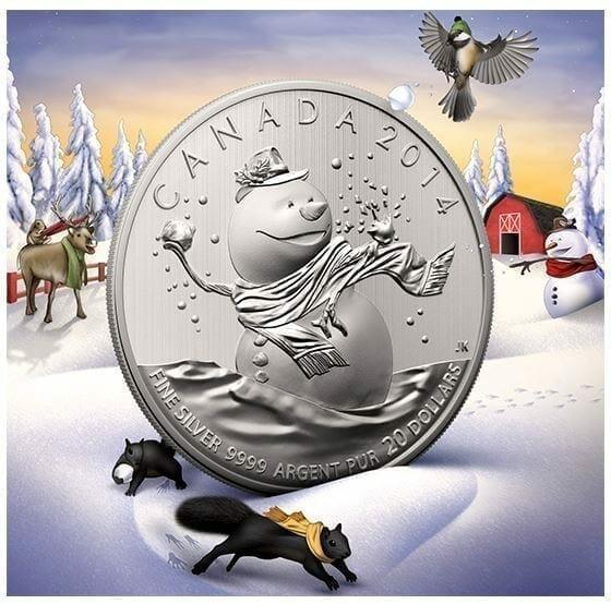 2014 $20 Snowman 1/4oz .9999 Silver Coin - Royal Canadian Mint 3