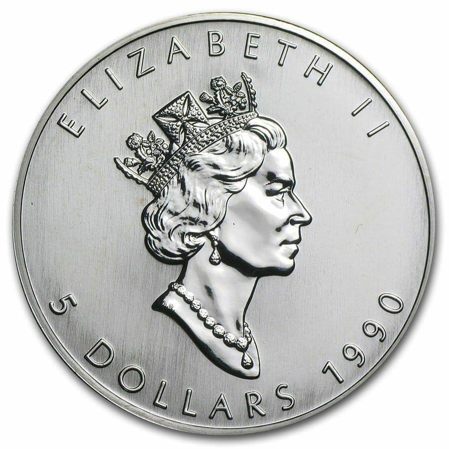 1990 Maple Leaf 1oz .9999 Silver Bullion Coin - Royal Canadian Mint 2