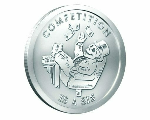 2014 Competition Is A Sin 1oz .999 Silver Bullion Round - Silver Shield 1