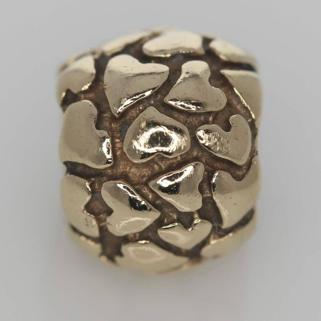 Pandora 14ct Gold Lotsa Love Hearts Charm - 750236 - Retired ALE 585 7